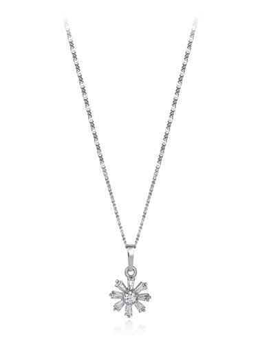 Tophills Diamond Co. 0,90 Ct Pırlanta Efekt  Altın Daisy Tektaş Kolye Renkli